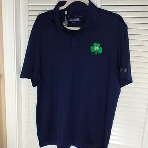 New Under Armour navy Notre Dame polo large